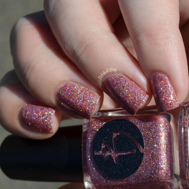 pink holo glitter polish