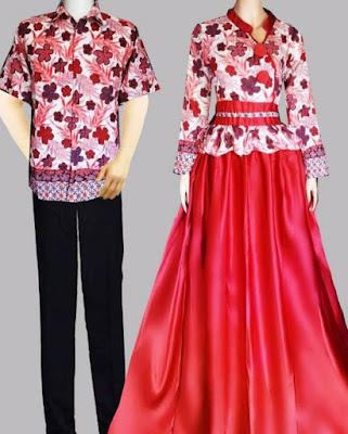 Model Gamis Batik Kombinasi Satin keluarga