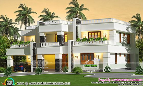 Decorative flat roof 3 BHK Kerala home design