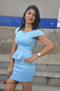 Actress Ankitha Jadhav Pictures in Blue Short Dress at Cottage Craft Mela 0005