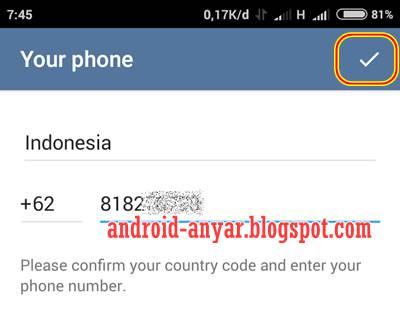 Registrasi Telegram dengan Nomor HP