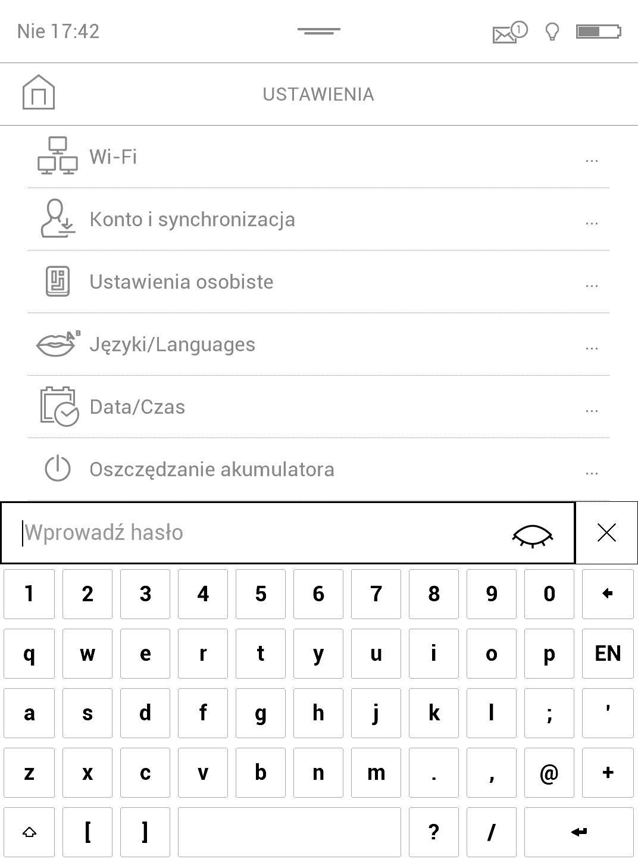 zrzut ekranu - wpisywanie hasła, by uzyskać dostęp do ustawień