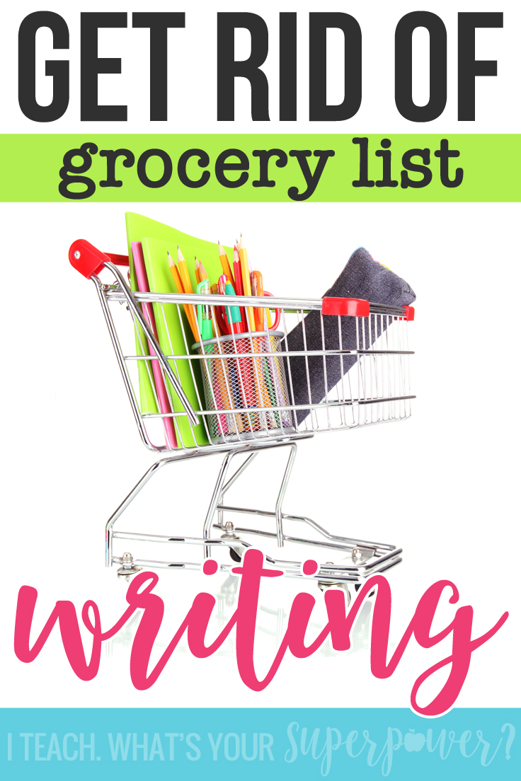 Got grocery list writers? (You know-the students who just seem to list each event that happened.)  Here's how to help those writers move beyond just a list.