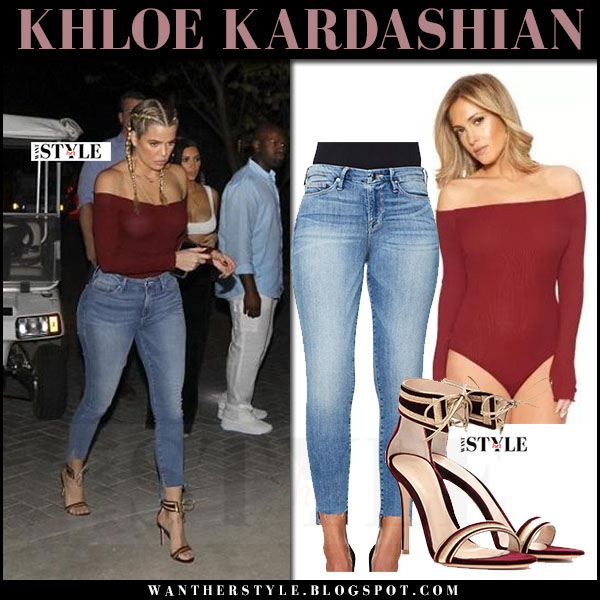 Khloe Kardashian in burgundy off shoulder top naked wardrobe, skinny jeans good american and velvet sandals gianvito rossi what she wore