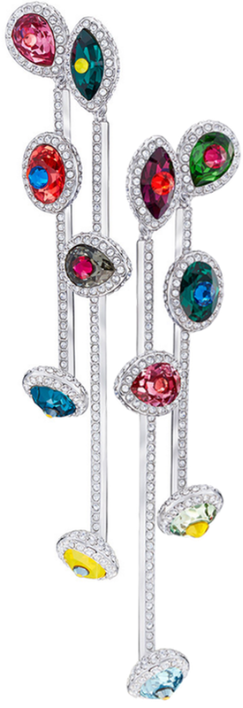 SWAROVSKI LUMINOUS FAIRY CLIP EARRINGS, MULTI-COLORED, RHODIUM PLATING