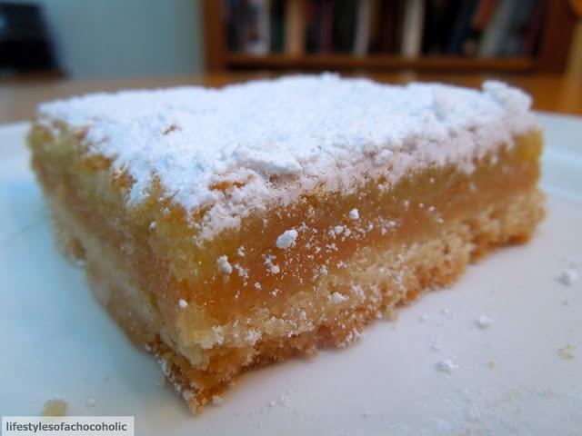 lemon bar on a white plate