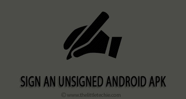 How to sign an unsigned android apk
