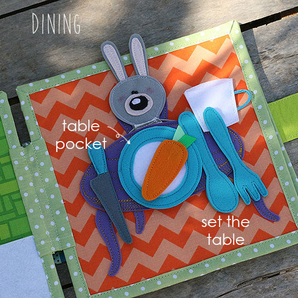 Quiet book Bunny day Dining