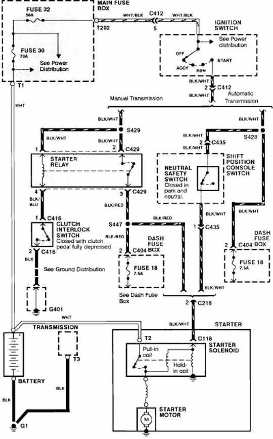 Honda Acura Integra 1990 Starting System Wiring Diagram