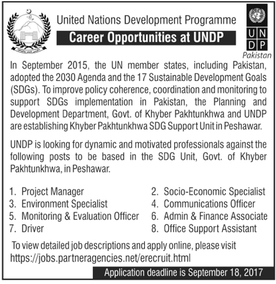 UNDP jobs in United Nation Development Program Pakistan aug 2017