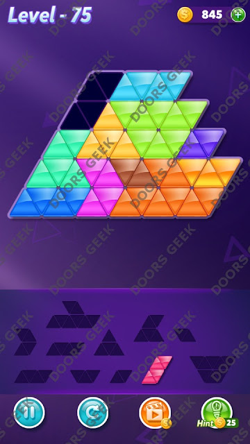 Block! Triangle Puzzle Challenger Level 75 Solution, Cheats, Walkthrough for Android, iPhone, iPad and iPod