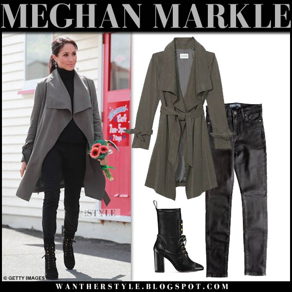 Meghan Markle in grey club monaco coat, black jeans and black lace up booties stuart weitzman veruka new zealand royal tour style october 28