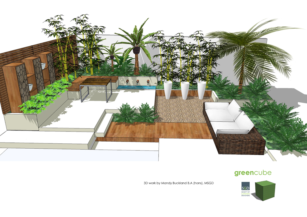 Greencube garden and landscape design uk are you making for Tropical courtyard garden design