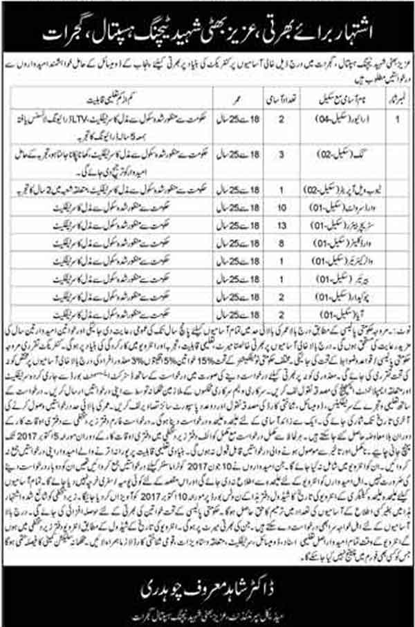 Jobs In Aziz Bhatti Shaheed Teaching Hospital Gujrat  22 Sep 2017