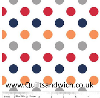 Riley Blake Multi dot Boy www.Quiltsandwich.co.uk extra wide quilt backing