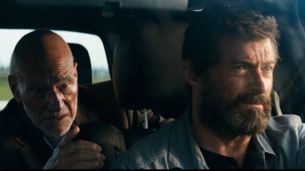 alan in belfast logan wolverine iii three men and a little charles xavier patrick stewart is living in an enormous overturned water tank sunlight streaming in through holes in its rusty shell