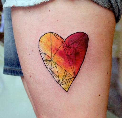 Geometrizado coração com hot spots