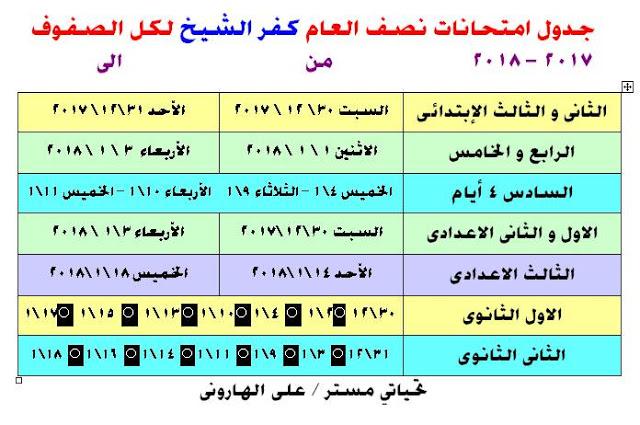 جداول امتحانات آخر العام الترم الثاني محافظة كفر الشيخ جميع الصفوف 2018