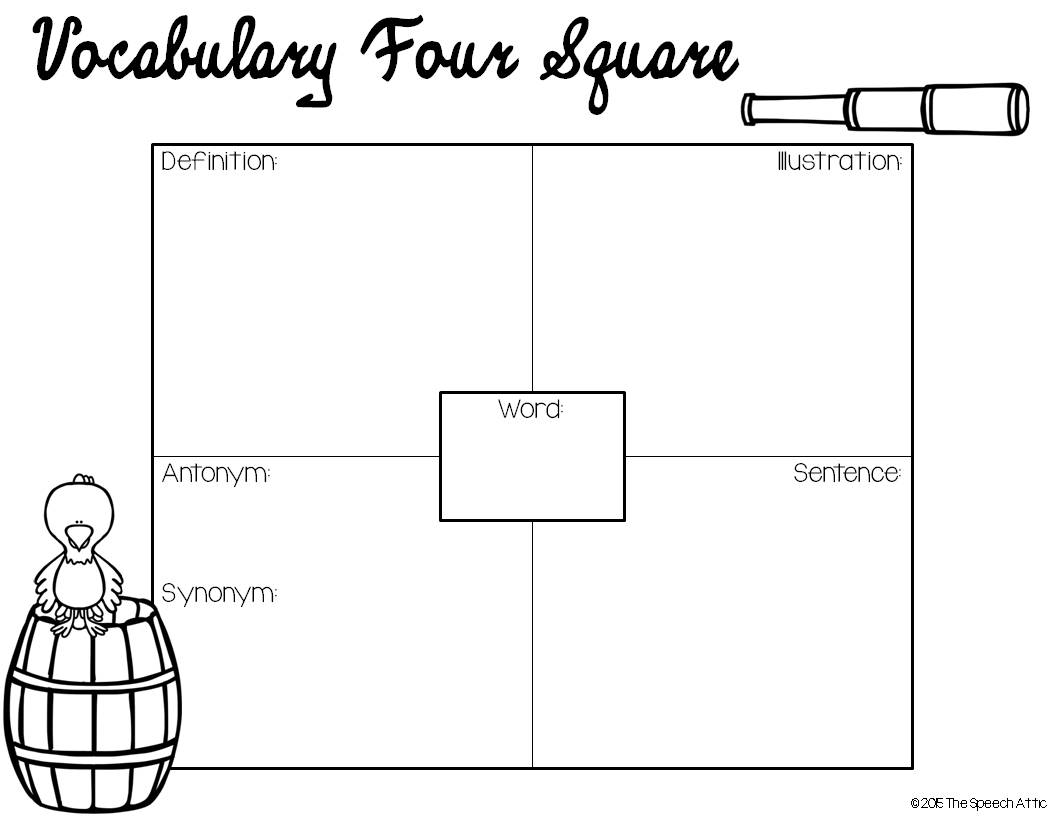 four square worksheet writing a mystery