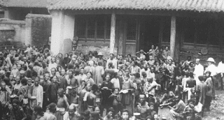 Refugiados inundaciones en China 1931