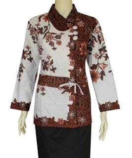 baju batik kerja kombinasi rok pendek