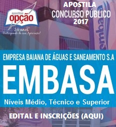 Apostila da EMBASA - BA 2017 - Agente Operacional (Download)