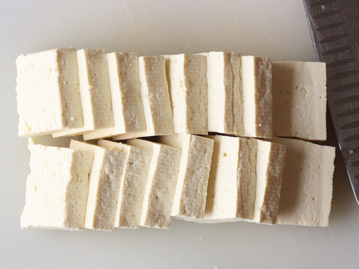 sliced extra firm regular tofu for korean style pan fried tofu
