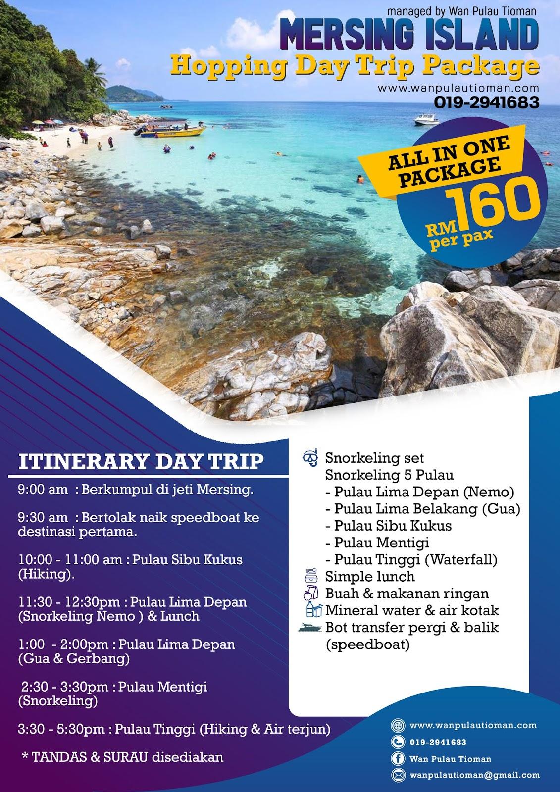 Mersing Island Hopping Day Trip Package | Percutian Pulau