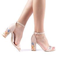 Sandale dama Gasha nude cu imprimeu floral