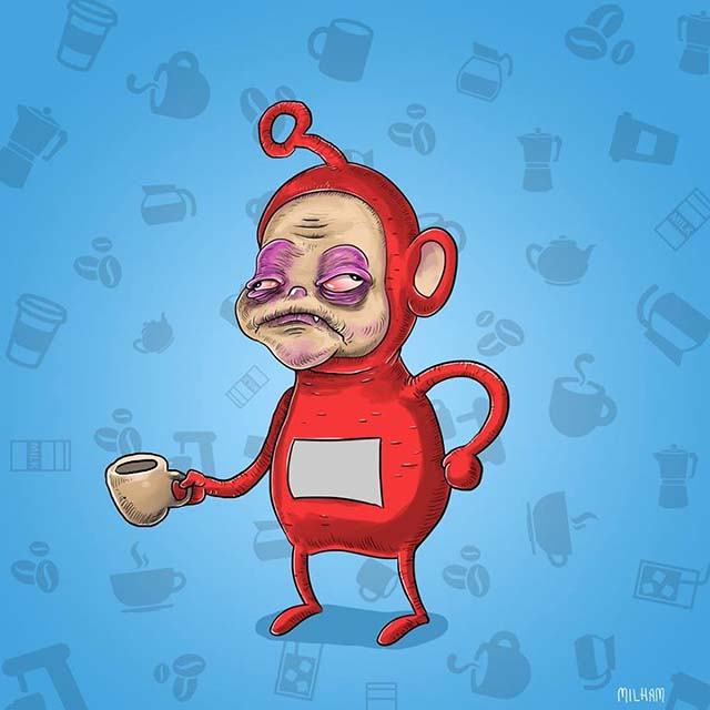 2 Famous Cartoon Characters : Famous cartoon characters before their morning coffee