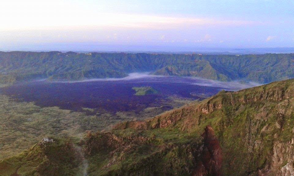 Mount Batur Bali in the morning and Lake Batur