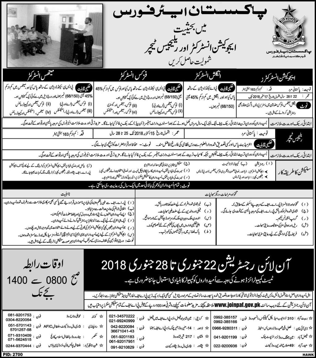 PAF Pakistan Air Force Jobs for Education Instructors and Religious Teachers 2018