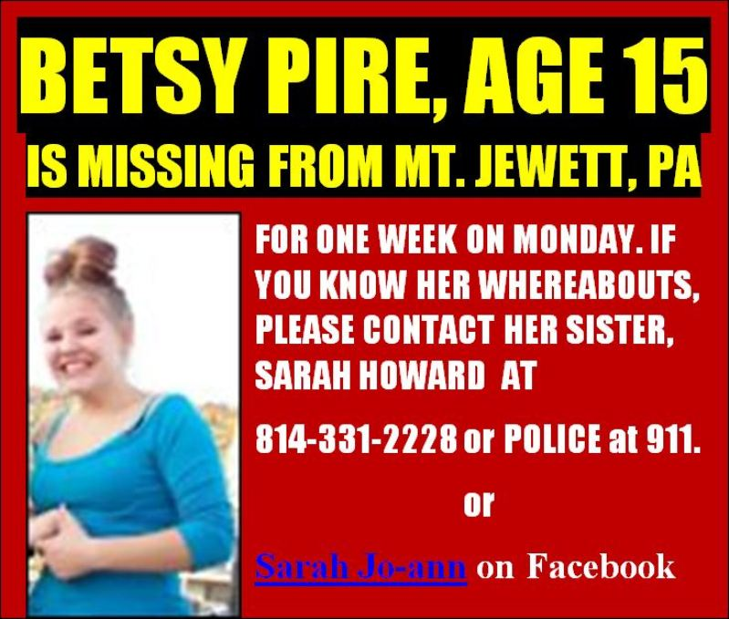 Solomon\u0027s words for the wise MISSING PERSON Betsy Pire, 15