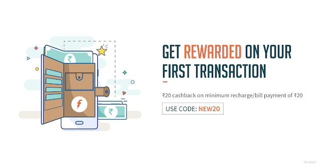 Freecharge Rs 20 Cash back on  Rs20 Recharge (Freecharge 100% cash back on recahrge)