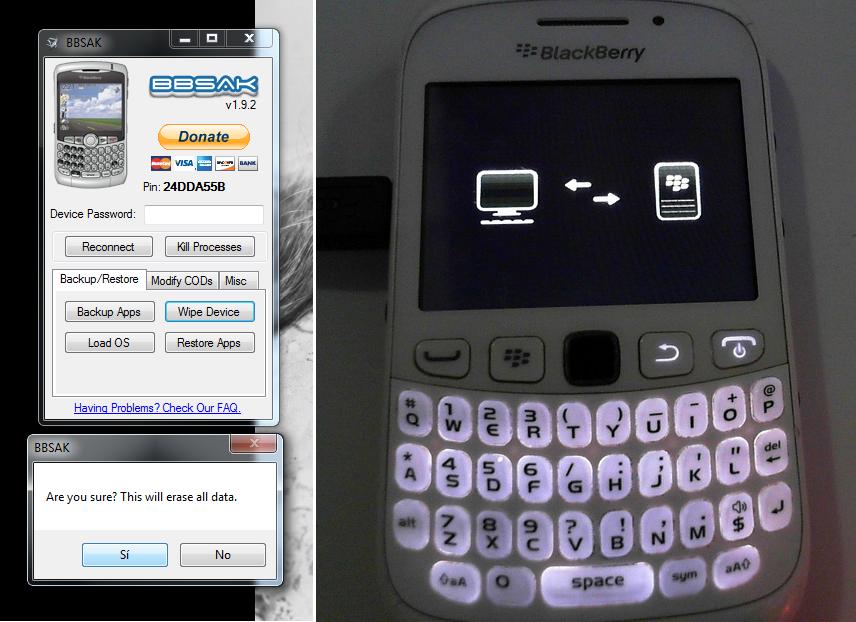 Borrando todo el contenido del Blackberry con BBSAK