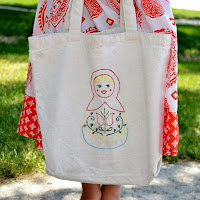 Matryoshka Tote Bag by Over The Apple Tree