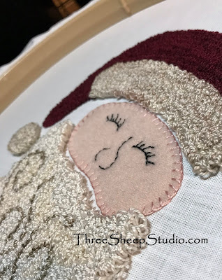 'Jolly Old Fellow' punch needle design using wool applique by Rose Clay at ThreeSheepStudio.com