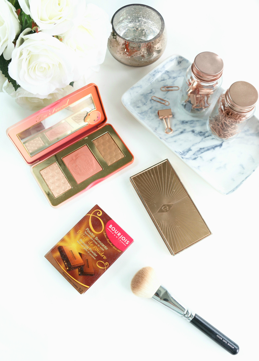 Summer Bronzers Bourjois Delice de Poudre, Charlotte Tilbury Filmstar Bronze & Glow and the Too Faced Sweet Peach Glow Kit.