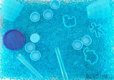 Blue color sensory bin