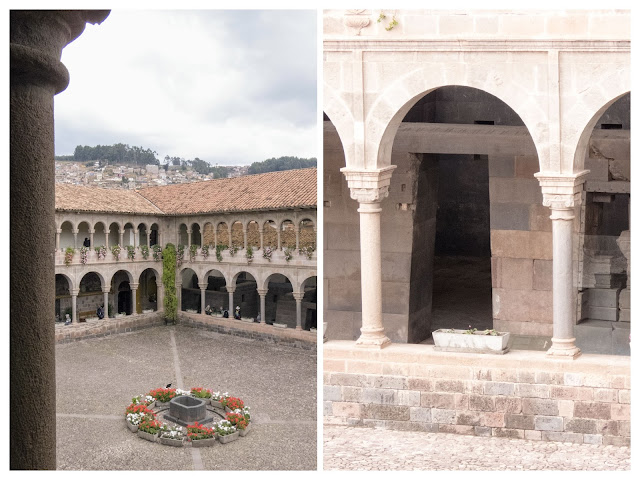 3 days in Cusco: Qorincancha in Cusco: courtyard with trapezoidal Incan doors and Spanish colonial arches