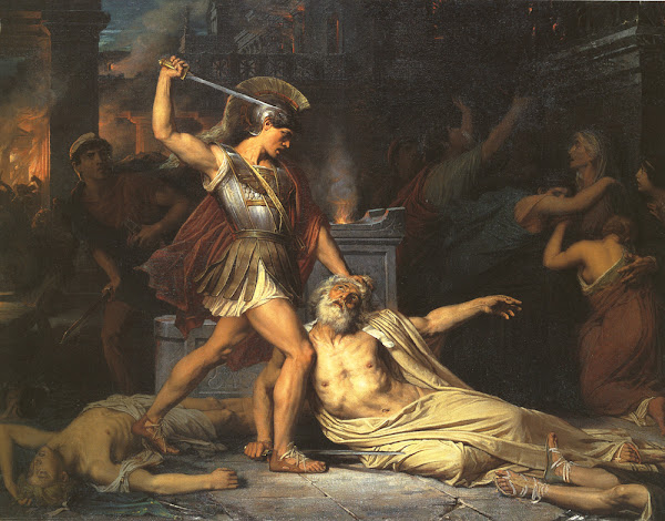 The Death of Priam by Jules Joseph Lefebvre, Classical mythology, Greek mythology, Roman mythology, mythological Art Paintings, Myths and Legends