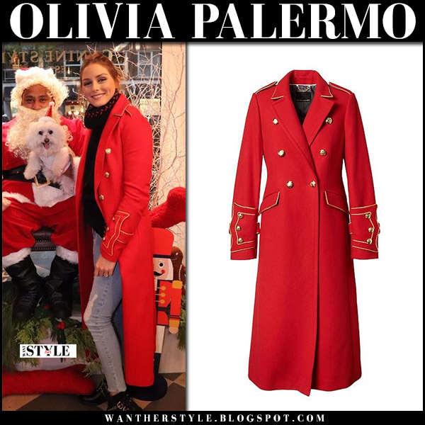 Olivia Palermo in long red military coat banana republic mr butler santa clause winter holiday fashion december 2017