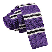 MENS KNITTED PURPLE WITH BLACK AND WHITE THIN STRIPES TIE