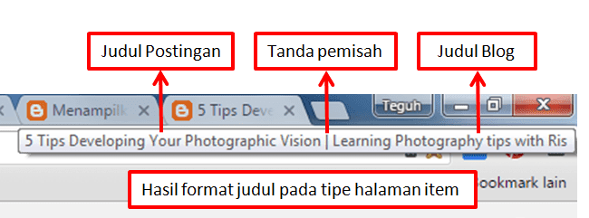 Hasil format judul pada tipe halaman item