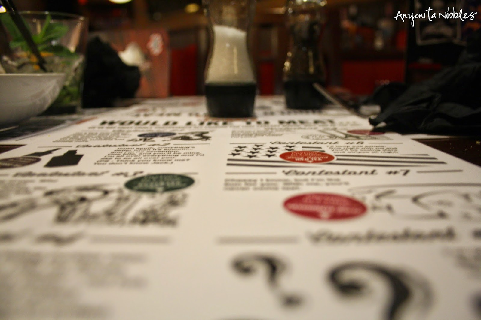TGI Friday's Burger Blind Date Menu