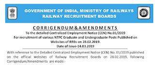 RRB NTPC Corrigendum notice & with various Amendments