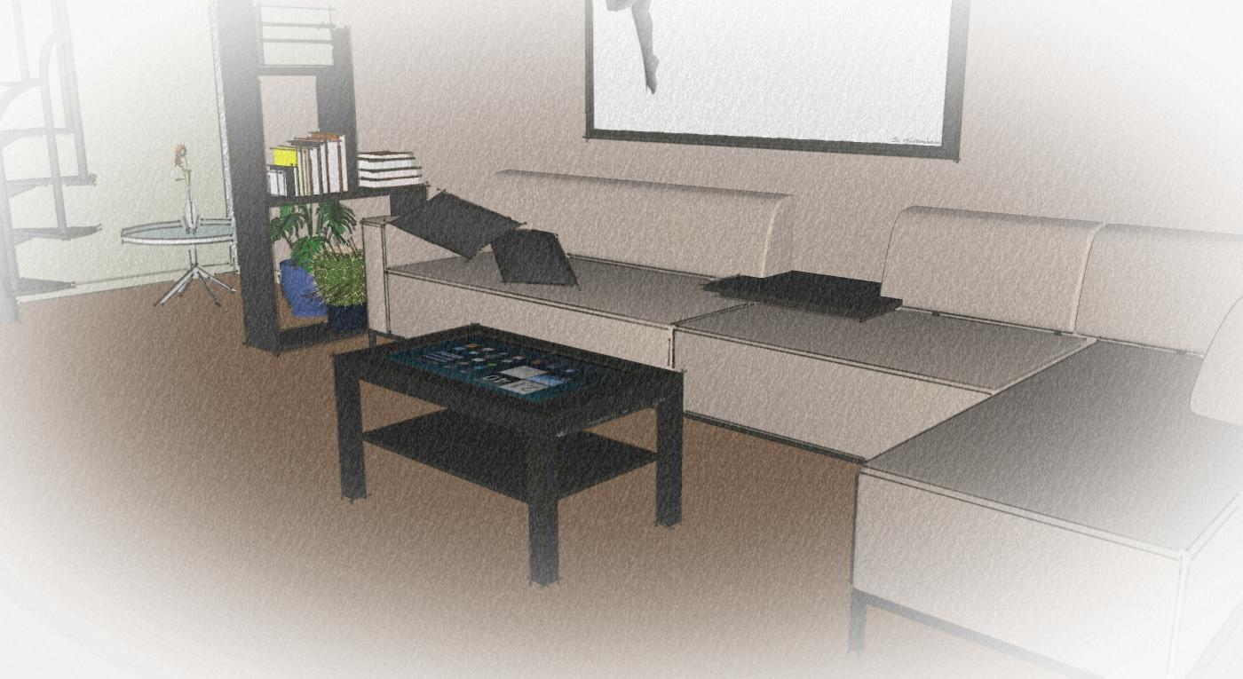Le diy de droofy table basse tactile v2 pqlab - Table de salon avec ecran tactile ...