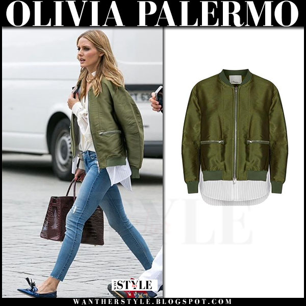 38d153a54b Olivia Palermo in green satin bomber jacket and blue skinny jeans in ...