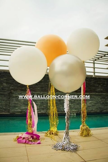 "Balon Latex Metalik Silver 24 Inchi Kualitas SUPER GRADE ""A"""