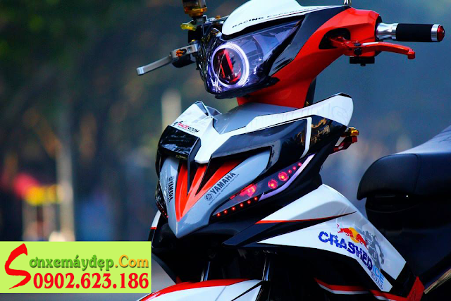 Sơn tem đấu xe Exciter 2011 Superbike SQ1 trắng đỏ đen